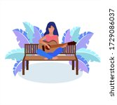one girl plays the guitar ...   Shutterstock .eps vector #1729086037