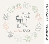 hello baby card with cute tiger ... | Shutterstock .eps vector #1729088761