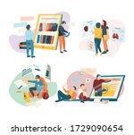 flat design 4x1 icons set with...   Shutterstock .eps vector #1729090654