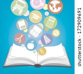book and icons school  | Shutterstock .eps vector #172909691