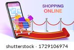 shopping bags in a trolley on... | Shutterstock .eps vector #1729106974