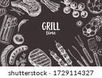 set of barbecue elements drawn ...   Shutterstock .eps vector #1729114327