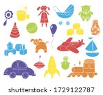 toys collection isolated on... | Shutterstock .eps vector #1729122787