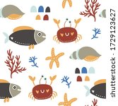 seamless vector pattern with... | Shutterstock .eps vector #1729123627