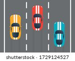 racing cars on the rally track. ... | Shutterstock .eps vector #1729124527