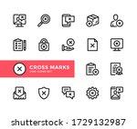 cross marks vector line icons.... | Shutterstock .eps vector #1729132987