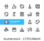 cleaning vector line icons.... | Shutterstock .eps vector #1729148644