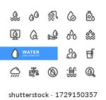 water vector line icons. simple ... | Shutterstock .eps vector #1729150357