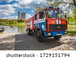 Firefighters Truck And Raft  A...