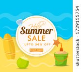summer sale background with... | Shutterstock .eps vector #1729155754