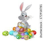 An Easter bunny white rabbit with a basket of painted chocolate Easter eggs - stock vector