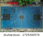 Top View Of The Basketball...