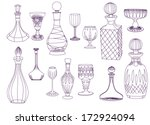 antique crystal decanters and... | Shutterstock .eps vector #172924094