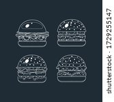 burger  fast food icons in lyne ... | Shutterstock .eps vector #1729255147