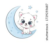 cute baby cat sitting on the...   Shutterstock .eps vector #1729255687