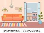 living room and open balcony...   Shutterstock .eps vector #1729293451