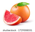 Small photo of Grapefruit isolated. Pink grapefruit with leaf. Whole grapefruit with slice on white. Grapefruit slices with zest isolate. With clipping path. Full depth of field.
