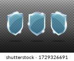 set of glass realistic shields. ... | Shutterstock .eps vector #1729326691