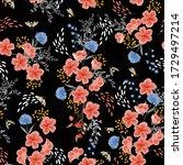 elegant seamless floral  dark... | Shutterstock .eps vector #1729497214