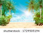 Sunny Tropical Caribbean Beach...