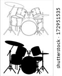 Drums   Silhouette And Outline...