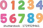 kids colored cartoon number set.... | Shutterstock .eps vector #1729529461