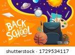 schoolbag with student supplies ... | Shutterstock .eps vector #1729534117