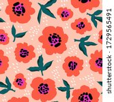 red flowers abstract pattern.... | Shutterstock .eps vector #1729565491
