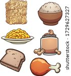 cartoon diverse food items and... | Shutterstock .eps vector #1729627327