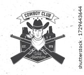 cowboy club badge. ranch rodeo. ... | Shutterstock .eps vector #1729643644