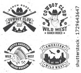 set of cowboy club badge. ranch ... | Shutterstock .eps vector #1729643647