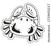 sticker fun crab. cute children'... | Shutterstock .eps vector #1729653217