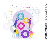 small people collect gear in... | Shutterstock .eps vector #1729666477