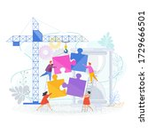 small people connect puzzle... | Shutterstock .eps vector #1729666501