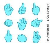 cartoon hand gesture set in... | Shutterstock .eps vector #1729684594