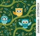 owls in the night forest... | Shutterstock .eps vector #1729704214