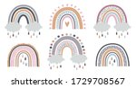 set of rainbows with hearts ... | Shutterstock .eps vector #1729708567