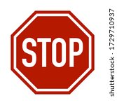 red and white stop traffic sign | Shutterstock . vector #1729710937
