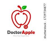 stethoscope apple vector... | Shutterstock .eps vector #1729734877