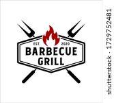 vintage retro rustic bbq grill  ...   Shutterstock .eps vector #1729752481