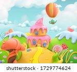 sweet candy land. 3d vector... | Shutterstock .eps vector #1729774624