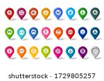 travel map pin icons vector set.... | Shutterstock .eps vector #1729805257