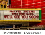 Small photo of TRAVERSE CITY, MI - MARCH 16, 2020: Closed movie theatre on the day the state announces closure of bars and restaurants in Michigan at 3:00 p.m. due to coronavirus/COVID-19.