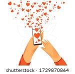 hand with phone vector cartoon... | Shutterstock .eps vector #1729870864