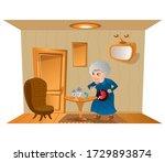 grandma takes a pills. old... | Shutterstock .eps vector #1729893874
