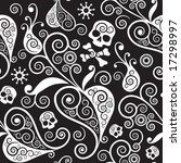 floral seamless with skull | Shutterstock .eps vector #17298997