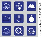set of 9 icons such as cloud ... | Shutterstock .eps vector #1729915264