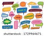 set of speech bubble doodle... | Shutterstock .eps vector #1729964671