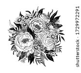 hand drawn floral decor with...   Shutterstock .eps vector #1729972291