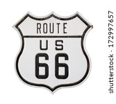 Us Route 66 Highway Sign With...